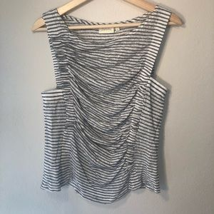 Anthropologie Deletta Striped Ruched Tank Top